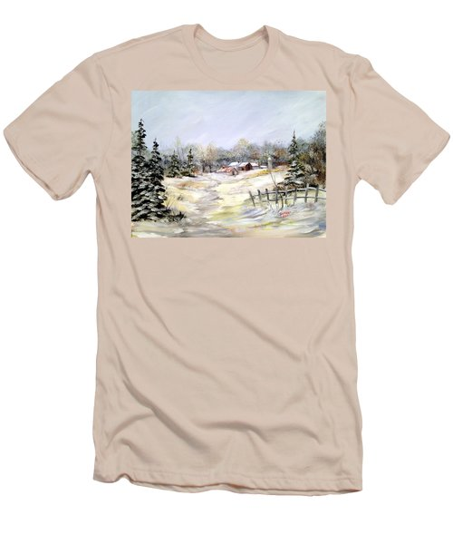 Men's T-Shirt (Slim Fit) featuring the painting Winter At The Farm by Dorothy Maier