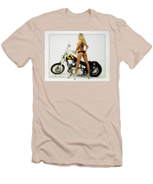 Models And Motorcycles Men's T-Shirt (Slim Fit) by Walter Herrit