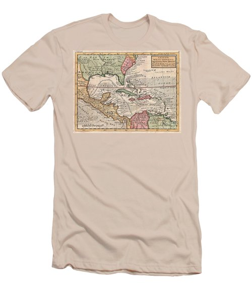1732 Herman Moll Map Of The West Indies And Caribbean Men's T-Shirt (Athletic Fit)