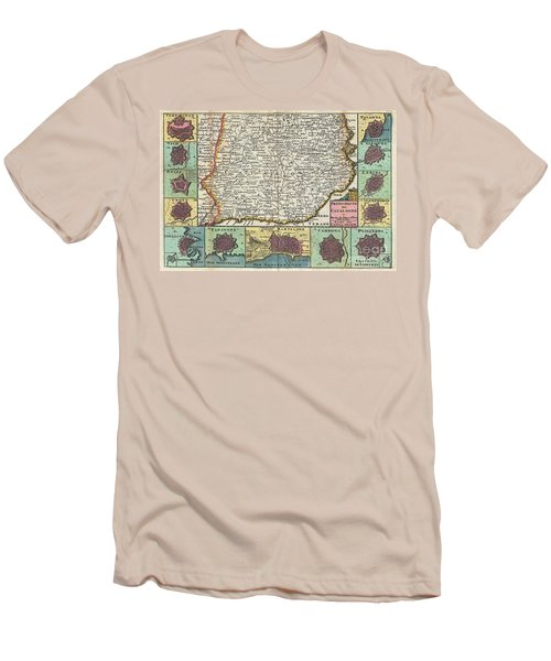 1747 La Feuille Map Of Catalonia Spain Men's T-Shirt (Athletic Fit)