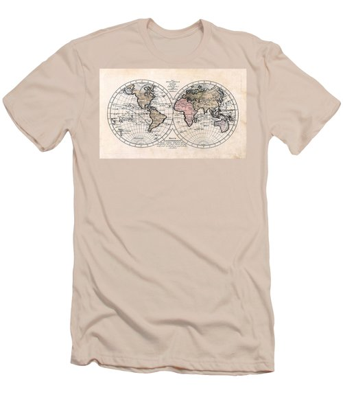 Men's T-Shirt (Slim Fit) featuring the photograph 1791 Antique World Map Die Funf Theile Der Erde by Karon Melillo DeVega