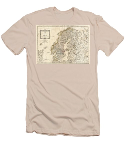 1794 Laurie And Whittle Map Of Norway Sweden Denmark And Finland Men's T-Shirt (Slim Fit) by Paul Fearn