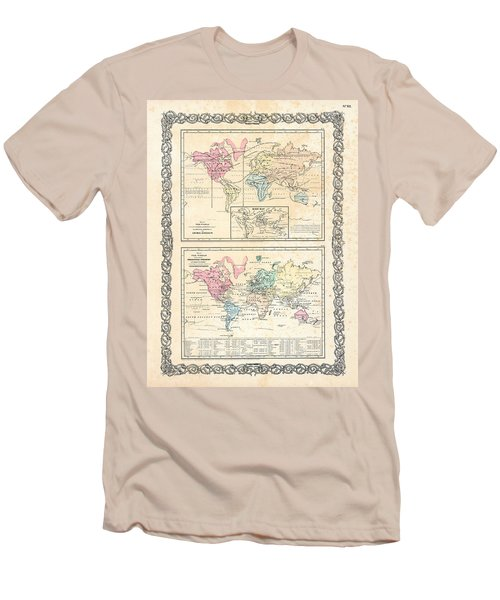 Men's T-Shirt (Slim Fit) featuring the photograph 1855 Antique First Plate Ortelius World Map Animal Kingdom World Commerce And Navigation by Karon Melillo DeVega