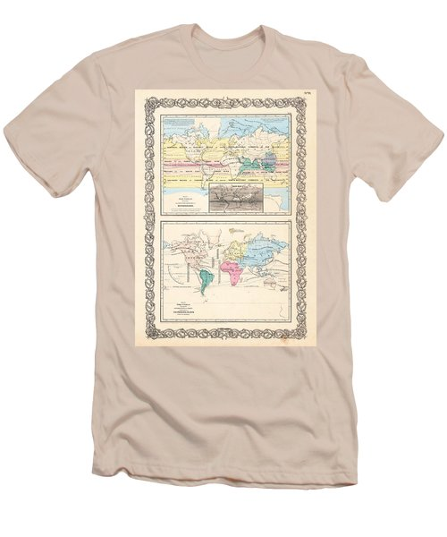 Men's T-Shirt (Slim Fit) featuring the photograph 1855 Antique World Maps Illustrating Principal Features Of Meteorology Rain And Principal Plants by Karon Melillo DeVega