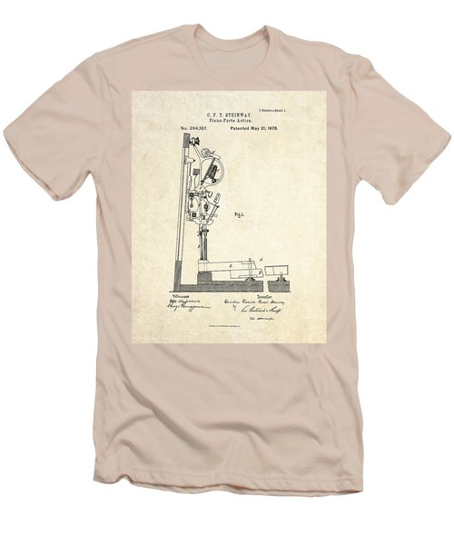 1878 Steinway Piano Forte Action Patent Art  Men's T-Shirt (Slim Fit) by Gary Bodnar