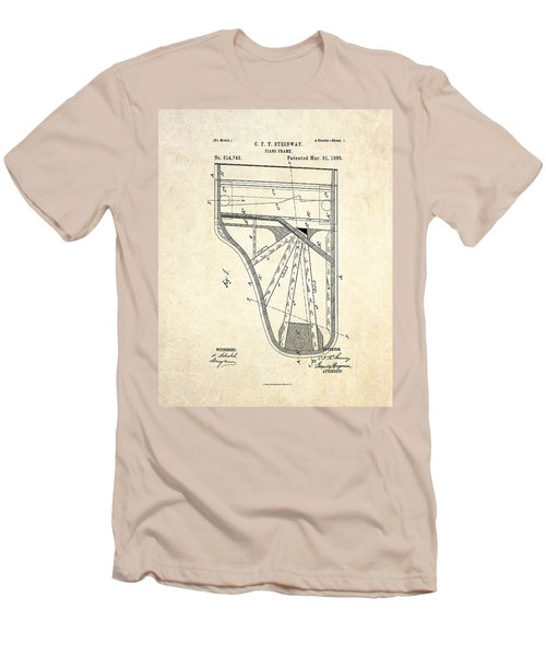 1885 Steinway Piano Frame Patent Art Men's T-Shirt (Slim Fit) by Gary Bodnar
