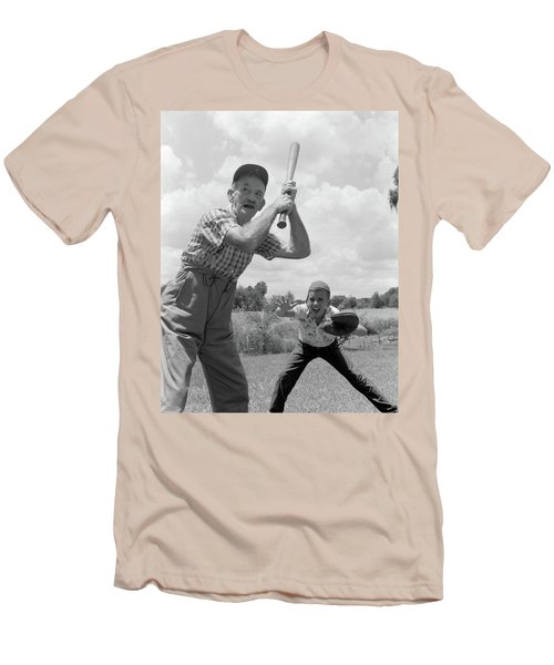 1950s Grandfather At Bat With Grandson Men's T-Shirt (Athletic Fit)