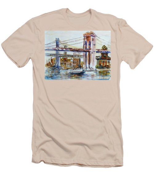 Men's T-Shirt (Slim Fit) featuring the painting Downtown Bridge by Xueling Zou