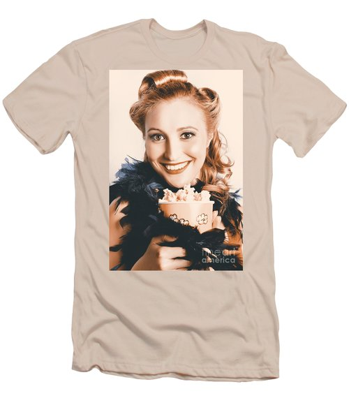Fifties Pinup Woman Seeing Movie At Retro Cinema Men's T-Shirt (Athletic Fit)