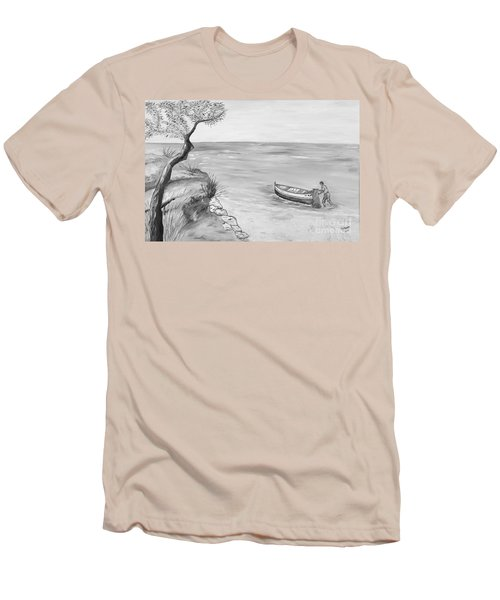 Men's T-Shirt (Slim Fit) featuring the painting Il Pescatore Solitario by Loredana Messina