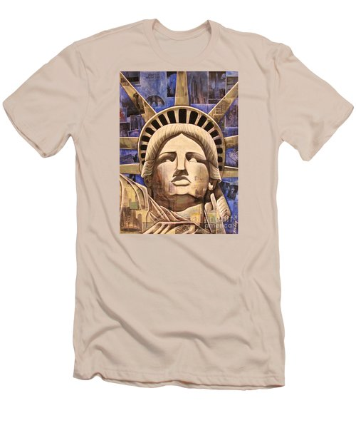 Men's T-Shirt (Slim Fit) featuring the painting Lady Liberty by Joseph Sonday