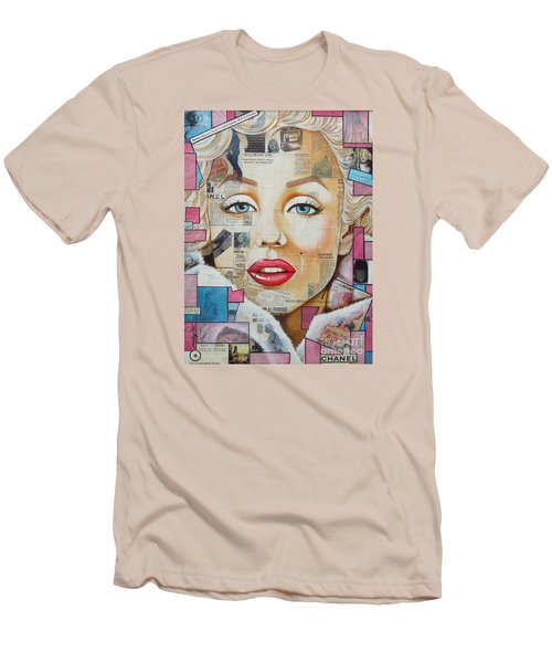 Men's T-Shirt (Slim Fit) featuring the painting Marilyn In Pink And Blue by Joseph Sonday