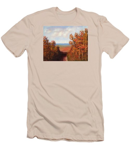 Men's T-Shirt (Slim Fit) featuring the painting Mountain View by Jason Williamson