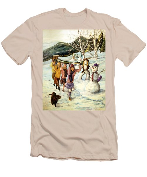 Frosty Frolic Men's T-Shirt (Slim Fit) by Linda Simon