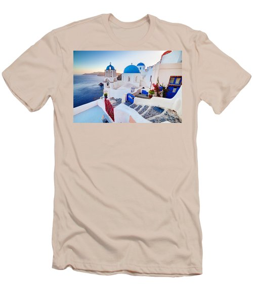 Oia Town On Santorini Greece Men's T-Shirt (Athletic Fit)