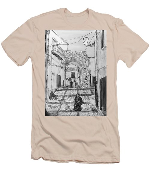 Men's T-Shirt (Slim Fit) featuring the painting Sutera Rabato Antico by Loredana Messina