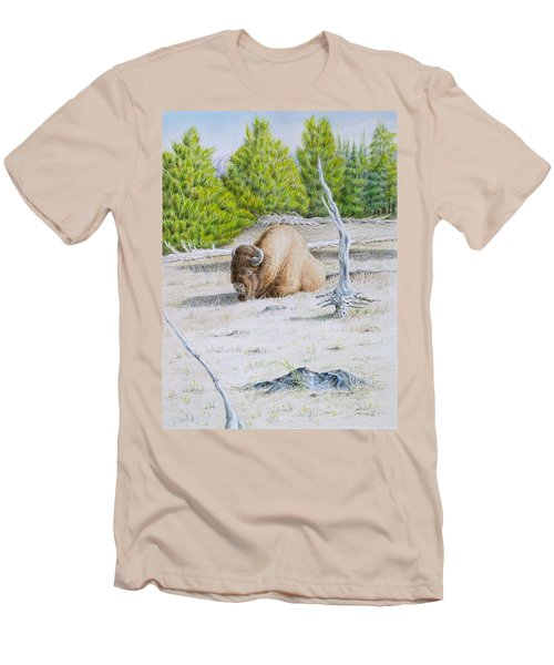 Men's T-Shirt (Slim Fit) featuring the painting A Buffalo Sits In Yellowstone by Michele Myers