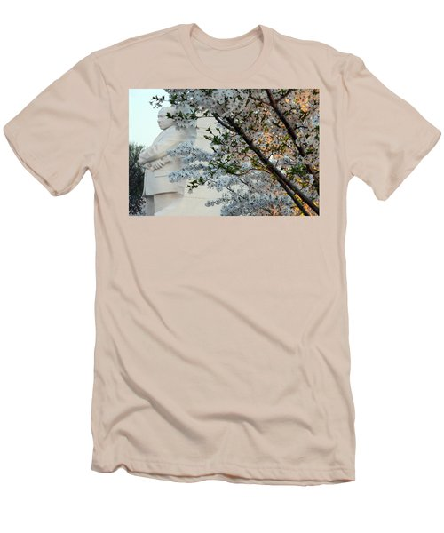 Men's T-Shirt (Slim Fit) featuring the photograph A Cherry Blossomed Martin Luther King by Cora Wandel