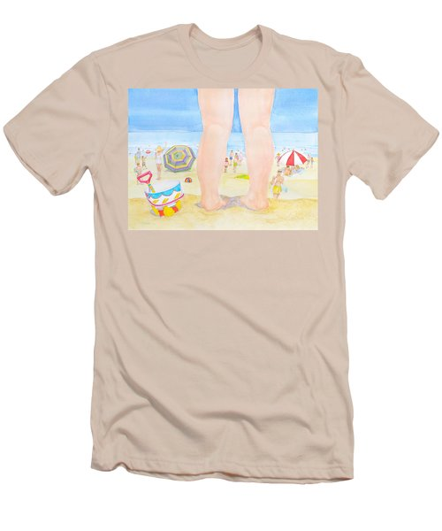 Men's T-Shirt (Slim Fit) featuring the painting A Child Remembers The Beach by Michele Myers