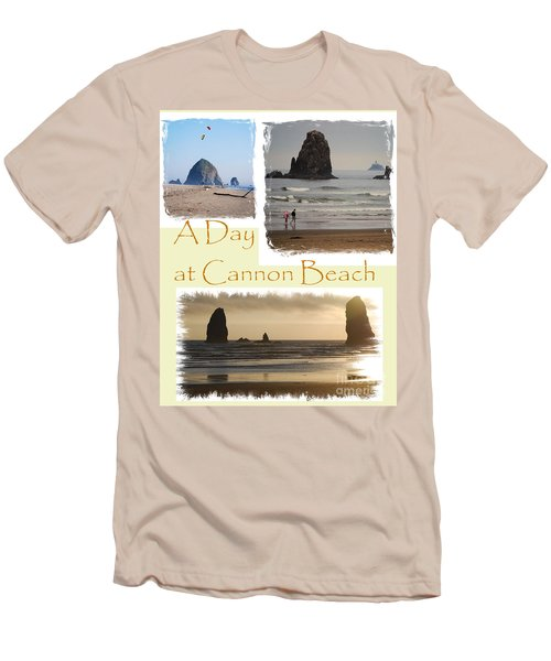 A Day On Cannon Beach Men's T-Shirt (Slim Fit) by Sharon Elliott