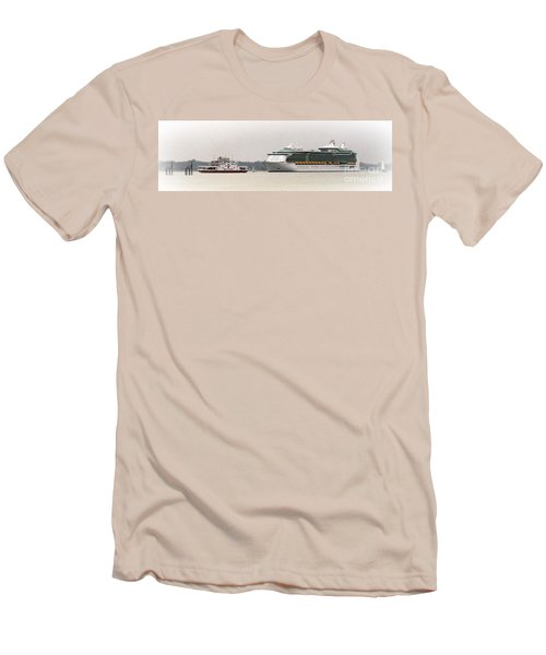 Men's T-Shirt (Slim Fit) featuring the photograph A Ferry A Ship And Some Yachts by Linsey Williams