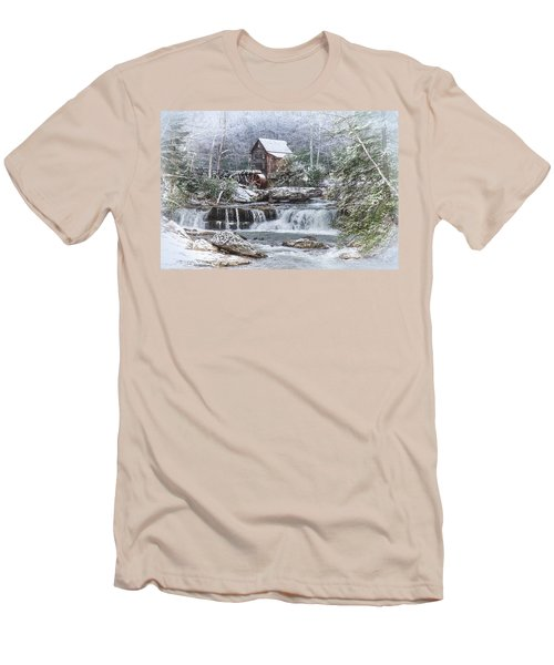 A Gristmill Christmas Men's T-Shirt (Slim Fit) by Mary Almond