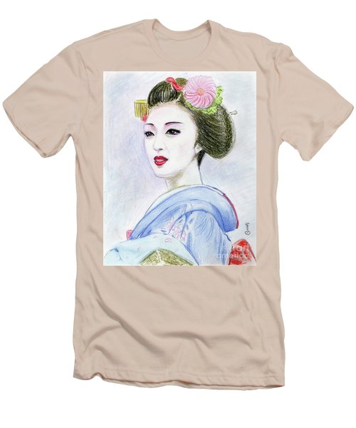 Men's T-Shirt (Slim Fit) featuring the drawing A Maiko  Girl by Yoshiko Mishina