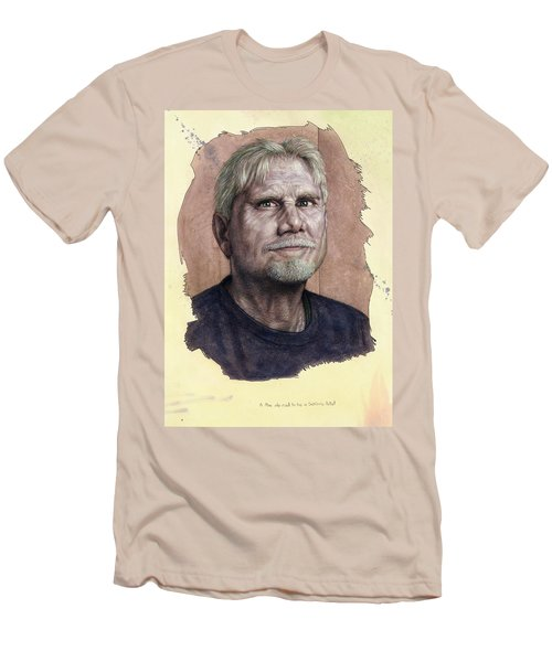 Men's T-Shirt (Slim Fit) featuring the painting A Man Who Used To Be A Serious Artist by James W Johnson