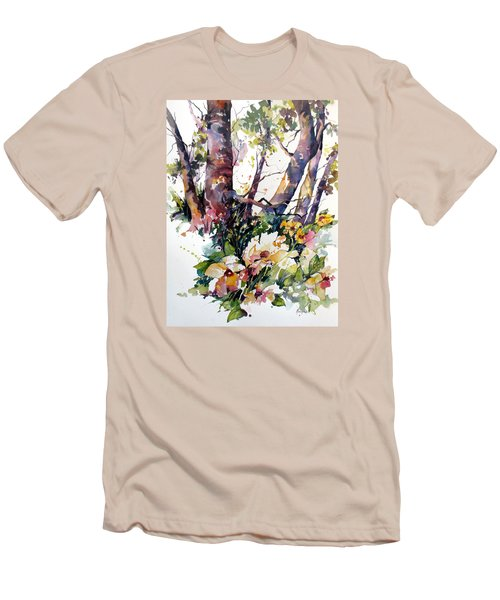 Men's T-Shirt (Slim Fit) featuring the painting A Quiet Place by Rae Andrews
