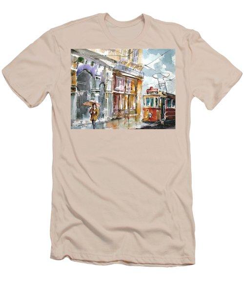 A Rainy Day In Istanbul Men's T-Shirt (Slim Fit) by Faruk Koksal