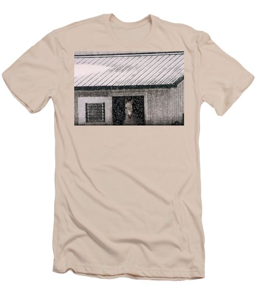 Men's T-Shirt (Slim Fit) featuring the photograph A Snowfall At The Stable by Bruce Patrick Smith