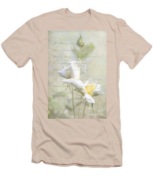 A White Rose Men's T-Shirt (Slim Fit) by Linda Lees
