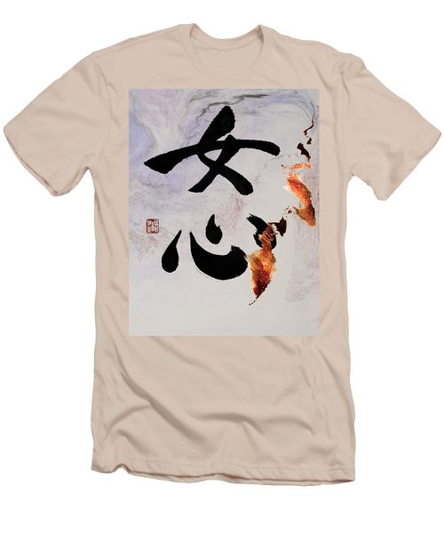 Men's T-Shirt (Slim Fit) featuring the mixed media A Woman's Heart Flows As A Golden River by Peter v Quenter