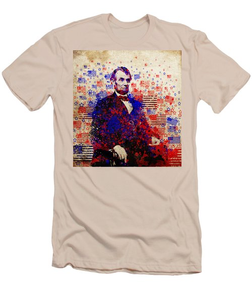 Abraham Lincoln With Flags Men's T-Shirt (Athletic Fit)