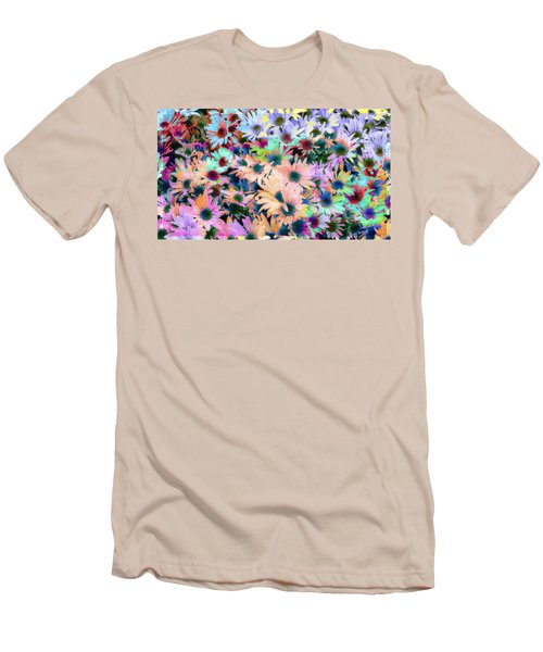 Abstract Colored Flowers Men's T-Shirt (Slim Fit) by Susan Stone