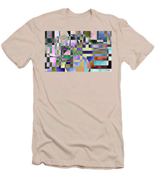Men's T-Shirt (Slim Fit) featuring the painting Abstract In Lavender by Curtiss Shaffer