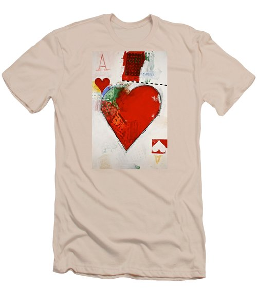 Men's T-Shirt (Slim Fit) featuring the painting Ace Of Hearts 8-52 by Cliff Spohn