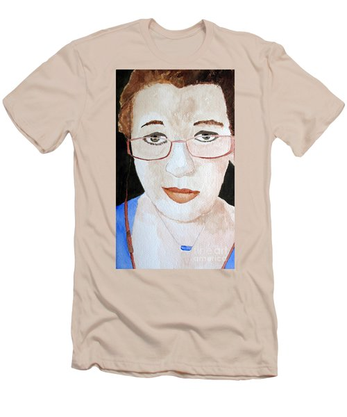 Men's T-Shirt (Slim Fit) featuring the painting Addie Two by Sandy McIntire