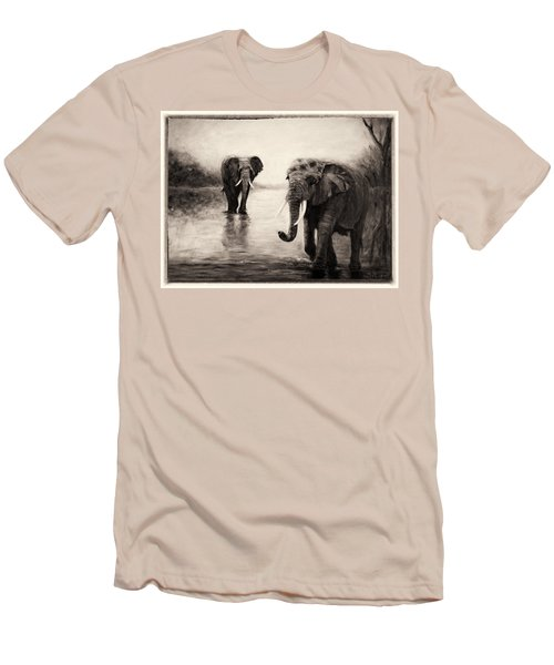 Men's T-Shirt (Slim Fit) featuring the painting African Elephants At Sunset by Sher Nasser