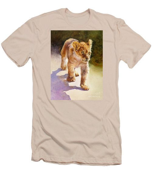 Men's T-Shirt (Slim Fit) featuring the painting African Lion Cub by Bonnie Rinier