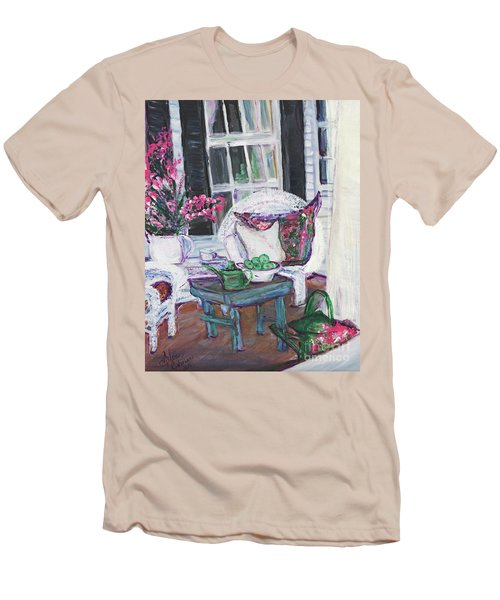 Afternoon At Emmaline's Front Porch Men's T-Shirt (Slim Fit) by Helena Bebirian