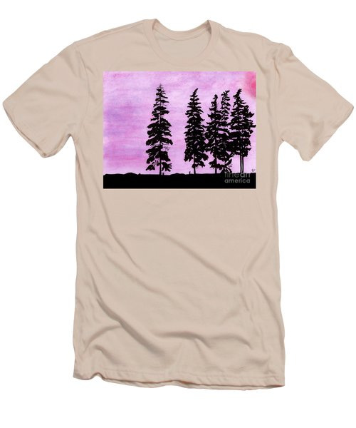 Men's T-Shirt (Slim Fit) featuring the drawing Colorful - Alaska - Sunset by D Hackett