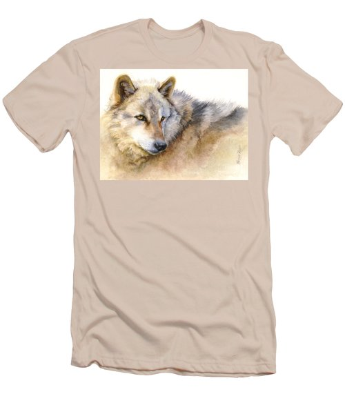 Men's T-Shirt (Slim Fit) featuring the painting Alaskan Gray Wolf by Bonnie Rinier