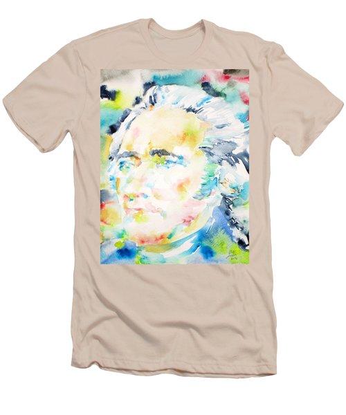 Alexander Hamilton - Watercolor Portrait Men's T-Shirt (Slim Fit) by Fabrizio Cassetta