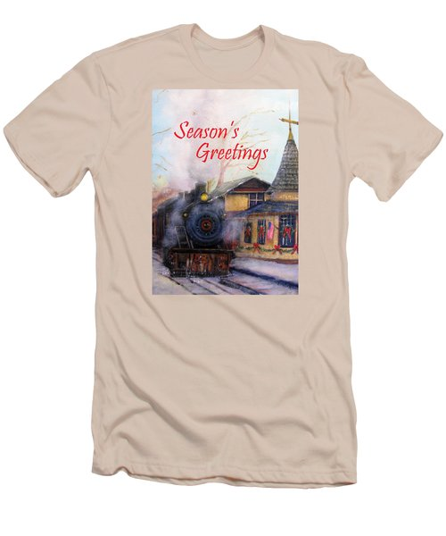 All Aboard At The New Hope Train Station Card Men's T-Shirt (Slim Fit) by Loretta Luglio
