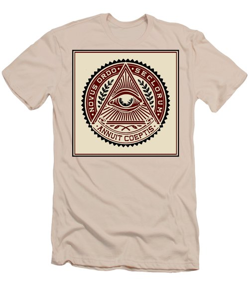 Men's T-Shirt (Slim Fit) featuring the digital art All Seeing Eye by Vagabond Folk Art - Virginia Vivier