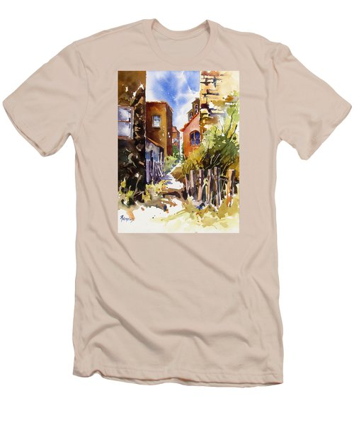 Men's T-Shirt (Slim Fit) featuring the painting Alleyway Charm 2 by Rae Andrews