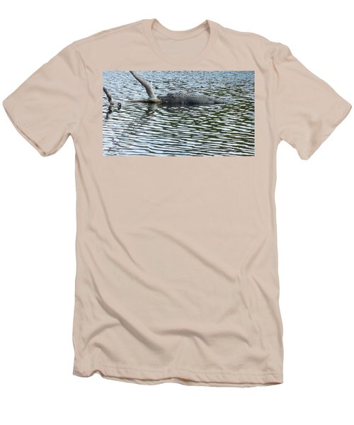 Men's T-Shirt (Slim Fit) featuring the photograph Alligator Resting On A Log by Ron Davidson
