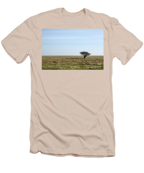 Alone Tree At A Coastal Grassland Men's T-Shirt (Slim Fit) by Kennerth and Birgitta Kullman