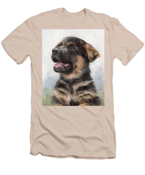 Alsatian Puppy Painting Men's T-Shirt (Athletic Fit)
